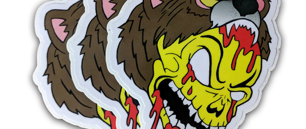 Aarbear Red & Yellow Skull Stickers